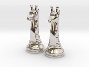 Pair Chess Giraffe Big / Timur Giraffe Zarafah in Rhodium Plated Brass