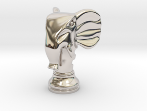 11Elephant Small Single in Rhodium Plated Brass