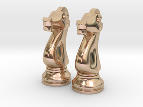 "Pair Knight Chess Big - Timur Knight ""Asp"" in 14k Rose Gold Plated Brass"