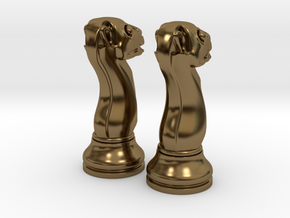 Pair Chess Camel Big / Timur Jamal  in Polished Bronze