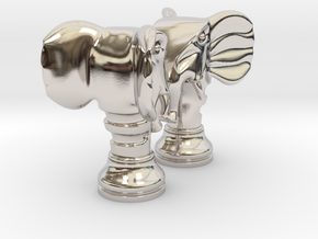 Pair Chess Elephant Big / Timur Pil Phil in Rhodium Plated Brass