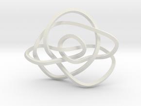 Ochiai unknot (Square) in White Natural Versatile Plastic: Extra Small