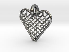 Latticed Heart Pendant in Premium Silver