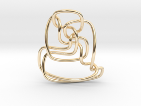 Thistlethwaite unknot (Circle) in 14k Gold Plated Brass: Extra Small