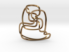 Thistlethwaite unknot (Square) in Natural Brass: Extra Small
