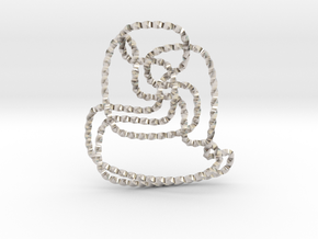Thistlethwaite unknot (Twisted square) in Rhodium Plated Brass: Extra Small