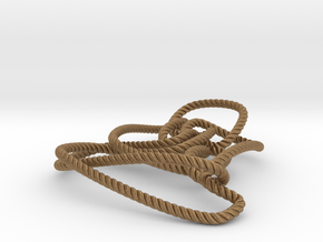 Thistlethwaite unknot (Rope with detail) in Natural Brass: Medium