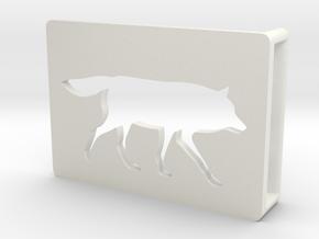 Belt Buckle - Wolf - M1SE in White Natural Versatile Plastic