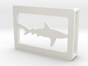 Belt Buckle - Shark - M1FE in White Natural Versatile Plastic