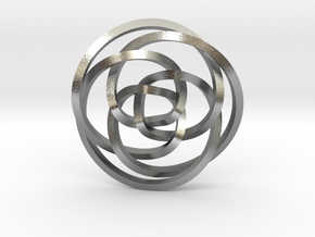 Rose knot 3/5 (Square) in Natural Silver: Extra Small
