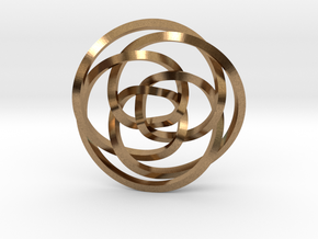 Rose knot 3/5 (Square) in Natural Brass: Extra Small