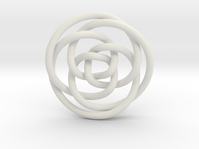 Rose knot 3/5 (Circle) in White Natural Versatile Plastic: Extra Small
