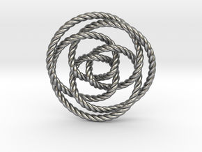 Rose knot 3/5 (Rope) in Natural Silver: Extra Small