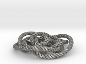 Rose knot 3/5 (Rope with detail) in Natural Silver: Medium