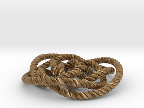 Rose knot 3/5 (Rope with detail) in Natural Brass: Medium