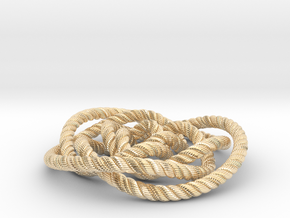 Rose knot 3/5 (Rope with detail) in 14k Gold Plated Brass: Medium
