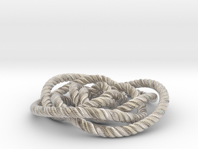 Rose knot 3/5 (Rope with detail) in Rhodium Plated Brass: Medium