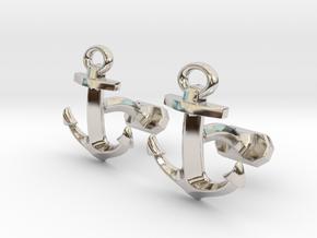 Anchor Cufflinks in Rhodium Plated Brass