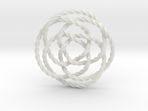 Rose knot 4/5 (Twisted square) in White Natural Versatile Plastic: Extra Small