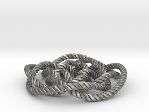 Rose knot 4/5 (Rope with detail) in Natural Silver: Medium