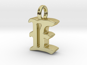 E - Pendant - 3 mm thk. in 18k Gold Plated