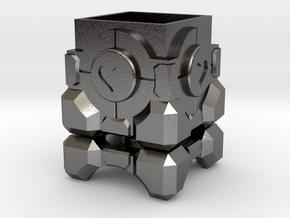 Portal Companion Cube Ring Box in Polished Nickel Steel: Medium