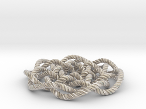 Rose knot 7/5 (Rope with detail) in Rhodium Plated Brass: Medium