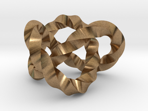 Trefoil knot (Twisted square) in Natural Brass: Extra Small