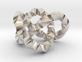 Trefoil knot (Twisted square) in Rhodium Plated Brass: Extra Small