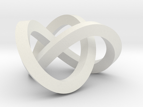 Trefoil knot (Square) in White Natural Versatile Plastic: Extra Small
