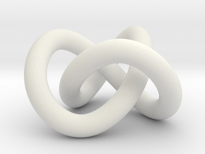 Trefoil knot (Circle) in White Natural Versatile Plastic: Extra Small