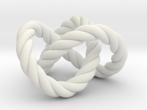Trefoil knot (Rope) in White Natural Versatile Plastic: Extra Small