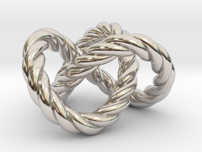 Trefoil knot (Rope) in Platinum: Extra Small