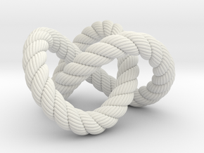 Trefoil knot (Rope with detail) in White Natural Versatile Plastic: Extra Small