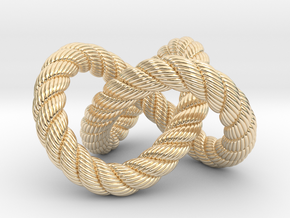 Trefoil knot (Rope with detail) in 14K Yellow Gold: Medium