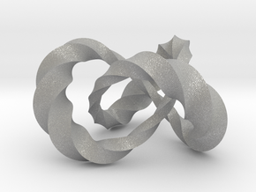 Varying thickness trefoil knot (Twisted square) in Aluminum: Medium