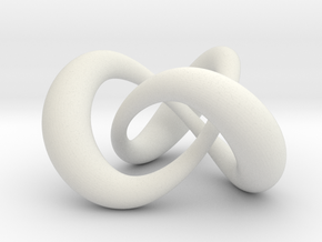 Varying thickness trefoil knot (Circle) in White Natural Versatile Plastic: Medium