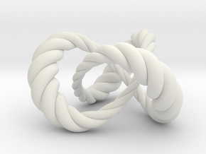 Varying thickness trefoil knot (Rope) in White Natural Versatile Plastic: Medium