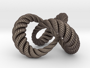 Varying thickness trefoil knot (Rope with detail) in Polished Bronzed Silver Steel: Medium