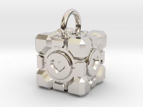 Portal Companion Cube Pendant in Rhodium Plated Brass