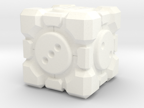 Portal Companion Cube Dice 19mm in White Processed Versatile Plastic: d3