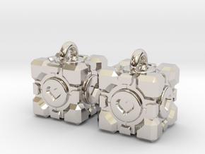 Portal Companion Cube Earrings in Rhodium Plated Brass