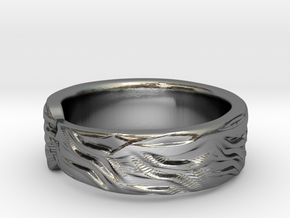 Tiger Textured & Tapered Ring in Fine Detail Polished Silver