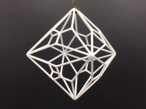 Polyhedron Ornament - Joined Truncated Cube in White Processed Versatile Plastic