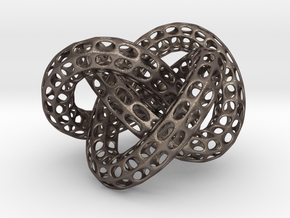 Webbed Knot with Intergrated Spheres in Polished Bronzed Silver Steel