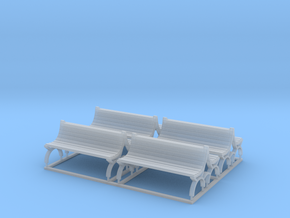 Bench type E (duble) - H0 ( 1:87 scale ) 4 Pcs set in Smooth Fine Detail Plastic