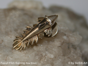 Fossil Fish Earring  in Natural Silver