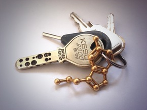 Serotonin Molecule Keychain in Raw Brass