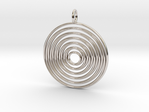 "Pendant ""Spiralinsky"" 28mm Diameter + Loop in Platinum"