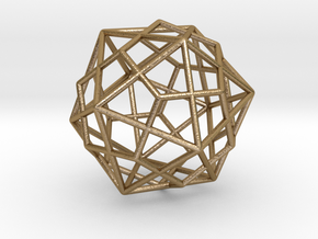 "Icosahedron Dodecahedron Combination 1.6"" in Polished Gold Steel"
